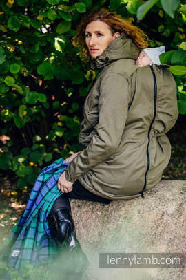 Parka Babywearing Coat - size S - Khaki & Diamond Plaid