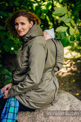 Parka Babywearing Coat - size M - Khaki & Diamond Plaid