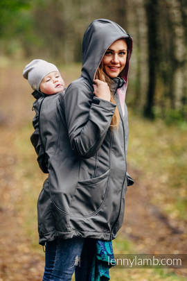 Babywearing Coat - Softshell - Charcoal with Little Herringbone Elegance - size XS