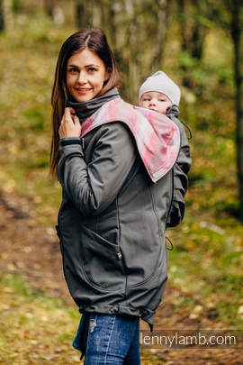 Babywearing Coat - Softshell - Charcoal with Little Herringbone Elegance - size XXL