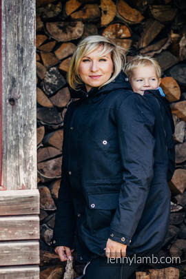 Parka Babywearing Coat - size S - Black & Diamond Plaid