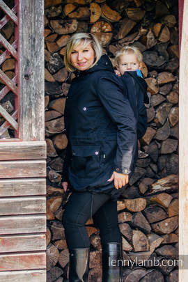 Parka Babywearing Coat - size L - Black & Diamond Plaid