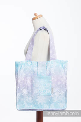 Shoulder bag made of wrap fabric (96% cotton, 4% metallised yarn) - GLITTERING SNOW QUEEN  - standard size 37cmx37cm