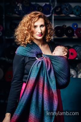 Ringsling, Jacquard Weave (60% combed cotton, 28% Merino wool, 8% silk, 4% cashmere), with gathered shoulder - BIG LOVE - BLACK OPAL (grade B)
