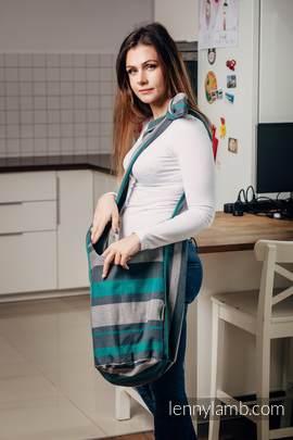 Hobo Bag made of woven fabric, 100% cotton - SMOKY - MINT