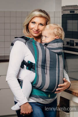 Ergonomic Carrier, Toddler Size, broken-twill weave 100% cotton - wrap conversion from SMOKY - MINT - Second Generation.