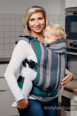 Ergonomic Carrier, Baby Size, broken-twill weave 100% cotton - wrap conversion from SMOKY - MINT - Second Generation.