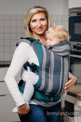 Nosidełko Ergonomiczne z tkaniny skośnokrzyżowej 100% bawełna , Baby Size, SMOKY - MIĘTA  - Druga Generacja.