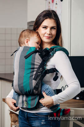 LennyUp Carrier, Standard Size, broken-twill weave 100% cotton - wrap conversion from SMOKY - MINT