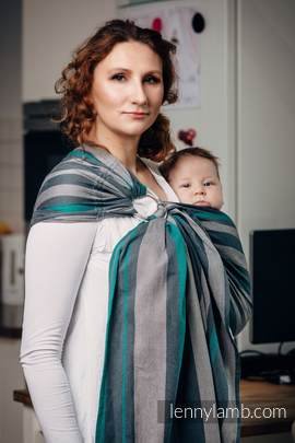 Ring Sling - 100% Cotton - Broken Twill Weave, with gathered shoulder - SMOKY - MINT