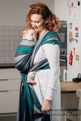 Baby Sling, Broken Twill Weave, 100% cotton,  SMOKY - MINT - size XL