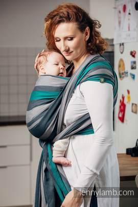Chusta do noszenia dzieci, tkana splotem skośno-krzyżowym (100% bawełna) - SMOKY - MIĘTA - rozmiar XS