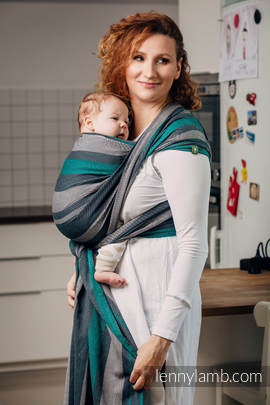 Baby Sling, Broken Twill Weave, 100% cotton,  SMOKY - MINT - size M