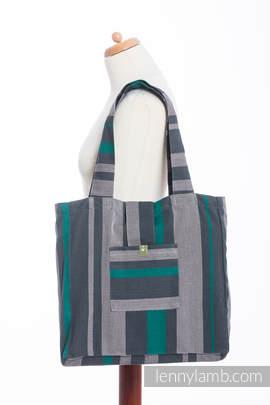 Torba na ramię z materiału chustowego, (100% bawełna) - SMOKY - MIĘTA - uniwersalny rozmiar 37cmx37cm