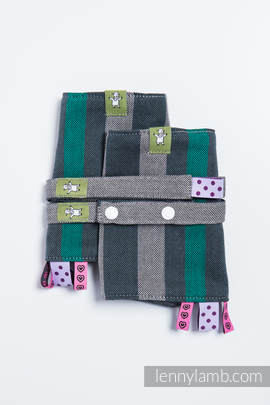Drool Pads & Reach Straps Set, (100% cotton) - SMOKY - MINT