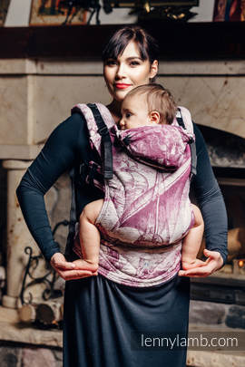 Ergonomic Carrier, Baby Size, jacquard weave 60% combed cotton, 40% Merino wool - wrap conversion from GALLEONS BURGUNDY & CREAM, Second Generation