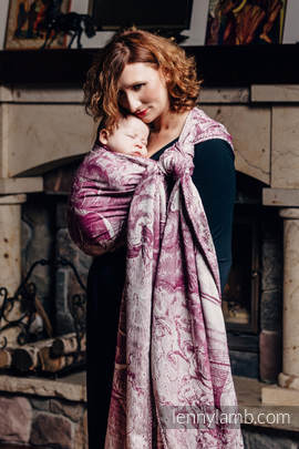 Baby Wrap, Jacquard Weave (60% combed cotton, 40% Merino wool) - GALLEONS BURGUNDY & CREAM - size XS