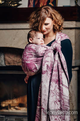 Baby Wrap, Jacquard Weave (60% combed cotton, 40% Merino wool) - GALLEONS BURGUNDY & CREAM - size XL