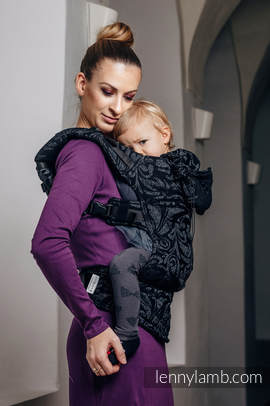 Ergonomic Carrier, Baby Size, jacquard weave, 96% cotton, 4% metallised yarn - TWISTED LEAVES METAL & DUST - Second Generation