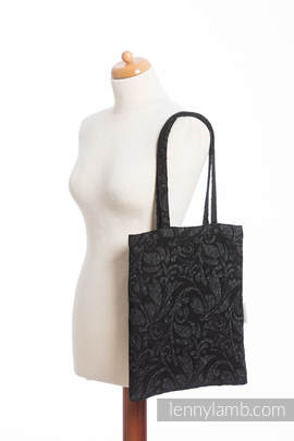 Shopping bag made of wrap fabric (96% cotton, 4% metallised yarn) - TWISTED LEAVES METAL & DUST