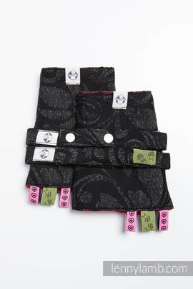 Drool Pads & Reach Straps Set, (96% cotton, 4% metallised yarn) - TWISTED LEAVES METAL & DUST