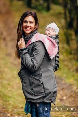 Babywearing Coat - Softshell - Charcoal with Little Herringbone Elegance - size 5XL