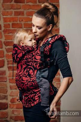 Nosidełko Ergonomiczne z tkaniny żakardowej 60% Bawełna 28% Len 12% Jedwab Tussah, Toddler Size, ZAKRĘCONE LIŚCIE - SZCZYPTA CHILI, Druga Generacja