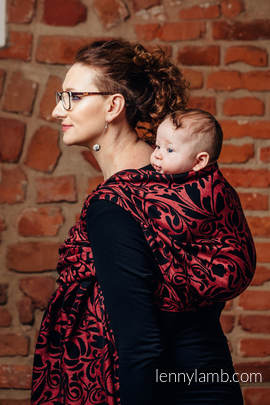Baby Wrap, Jacquard Weave (60% cotton 28% linen 12% tussah silk) - TWISTED LEAVES - PINCH OF CHILLI - size S (grade B)