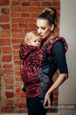 Ergonomic Carrier, Baby Size, jacquard weave 60% cotton 28% linen 12% tussah silk - wrap conversion from TWISTED LEAVES - PINCH OF CHILLI, Second Generation
