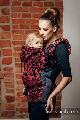 Nosidełko Ergonomiczne z tkaniny żakardowej 60% Bawełna 28% Len 12% Jedwab Tussah, Baby Size, ZAKRĘCONE LIŚCIE - SZCZYPTA CHILI, Druga Generacja