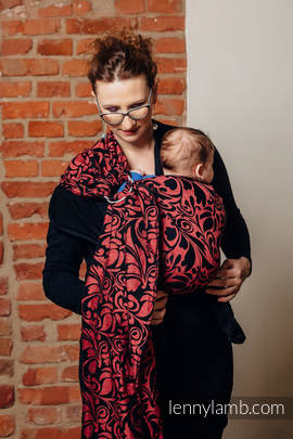 Ringsling, Jacquard Weave, with gathered shoulder (60% cotton 28% linen 12% tussah silk) - TWISTED LEAVES - PINCH OF CHILLI