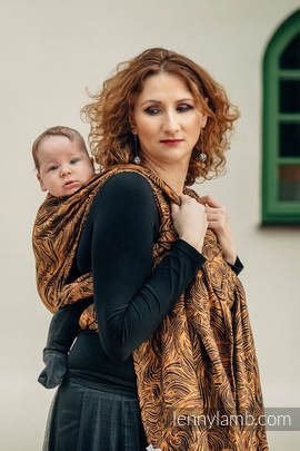 Żakardowa chusta do noszenia dzieci, 50% bawełna, 50% len - ZŁOTA ROSZPUNKA - rozmiar S