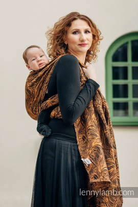 Żakardowa chusta do noszenia dzieci, 50% bawełna, 50% len - ZŁOTA ROSZPUNKA - rozmiar L