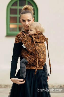 Nosidełko dla dzieci WRAP-TAI MINI, 50% bawełna, 50% len, splot żakardowy, z kapturkiem, ZŁOTA ROSZPUNKA