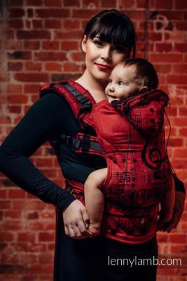 Nosidełko Ergonomiczne z tkaniny żakardowej 100% bawełna , Baby Size, SYMFONIA FLAMENCO - Druga Generacja