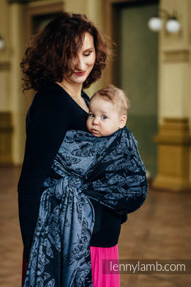 Baby Wrap, Jacquard Weave (96% cotton, 4% metallised yarn) - QUEEN OF THE NIGHT - size S