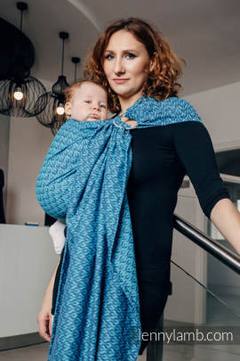 Ringsling, Jacquard Weave (100% cotton) - with gathered shoulder - COULTER NAVY BLUE & TURQUOISE