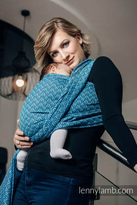 Baby Wrap, Jacquard Weave (100% cotton) - COULTER NAVY BLUE & TURQUOISE  - size XS