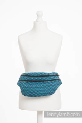 Waist Bag made of woven fabric, size large (100% cotton) - COULTER NAVY BLUE & TURQUOISE
