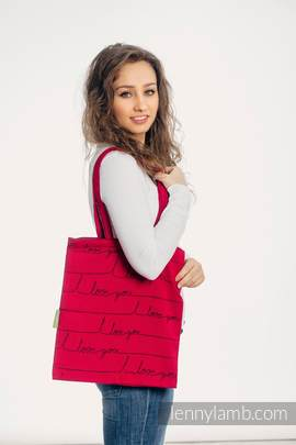 Einkaufstasche, hergestellt aus gewebtem Stoff (100% Baumwolle) - I LOVE YOU (grad B)