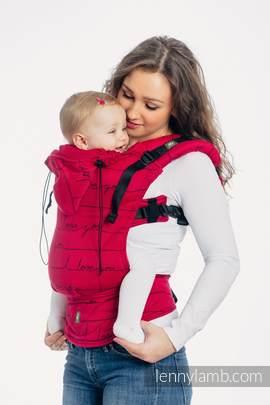 Ergonomische Tragehilfe, Größe Toddler, Jacquardwebung, 100% Baumwolle - I LOVE YOU - Zweite Generation