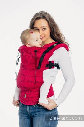 Ergonomic Carrier, Baby Size, jacquard weave 100% cotton - I LOVE YOU - Second Generation