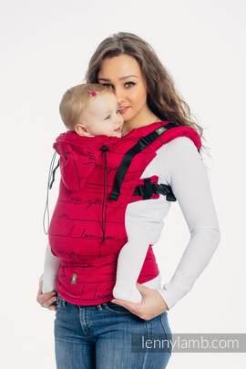Ergonomische Tragehilfe, Größe Baby, Jacquardwebung, 100% Baumwolle - I LOVE YOU - Zweite Generation