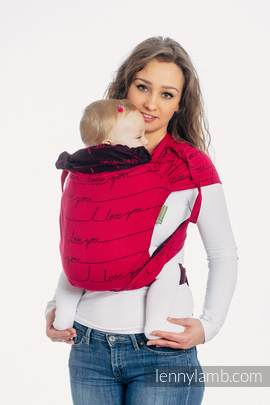 WRAP-TAI carrier Mini with hood/ jacquard twill / 100% cotton / I LOVE YOU (grade B)