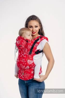 Nosidełko Ergonomiczne z tkaniny żakardowej 100% bawełna , Baby Size, CZUŁE SŁÓWKA - Druga Generacja