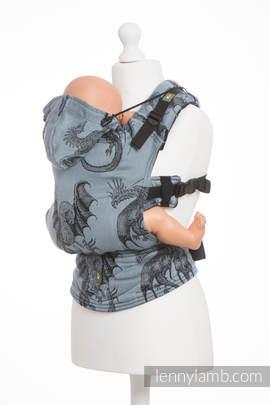 Nosidełko Ergonomiczne z tkaniny żakardowej 100% bawełna , Baby Size, DRAGON STALOWY BŁĘKIT - Druga Generacja