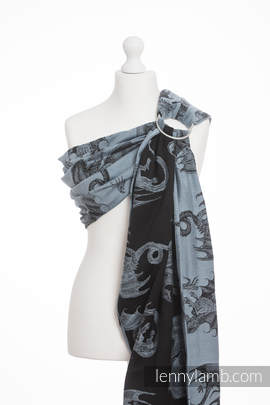Ringsling, Jacquard Weave (100% cotton) - with gathered shoulder - DRAGON STEEL BLUE
