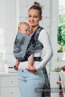 Baby Wrap, Jacquard Weave (100% cotton) - DRAGON STEEL BLUE - size XS