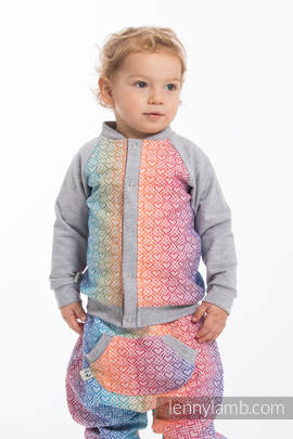Children sweatshirt LennyBomber - size 98 - Big Love - Rainbow & Grey