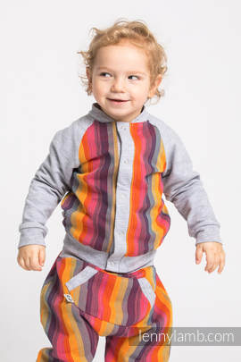 Children sweatshirt LennyBomber - size 74 - Rainbow Red Cotton & Grey
